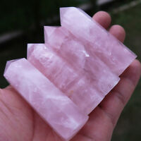 100% Natural Pink Rose Quartz Crystal Stone Point Healing Hexagonal Wand 70mm UA
