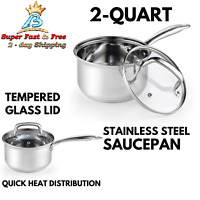Stainless Steel Saucepan Silver Mirror Polish Reflective Cooking W/ Lid 2 Quart