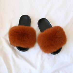 Fluffy Sliders Real Fox/Raccoon Fur Outdoor Slides Slippers Women's Sandal Shoes