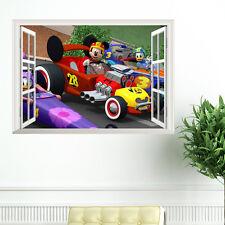 Mickey Mouse Racing Car 3D Window Wall Sticker Kids Room Decor Wall Sticker Art