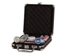 100 PC 11.5g Chips Las Vegas Poker Set 2 Decks 5 Dice Dealer Button Black Case
