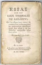FARJON ESSAI SUR LES EAUX THERMALES DE BALARUC 1773 ÉDITION ORIGINALE RARE