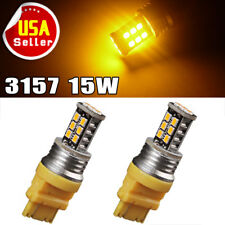 2x Amber 3157 3156 15W LED Light Bulbs Turn Signal Backup Reverse 2835 12V