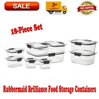 Rubbermaid Brilliance Food Storage Containers 18-Piece Set, BPA-free, Leak-proof