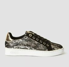 GUESS Black & Gold Trainers Size UK 8 / 41 Women's Lace Sneakers Brand New