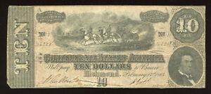 1864 USA $10 Confederate States America / Richmond VA