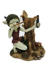 Resin Slingshot Elf Near Tree Trunk