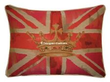 Union Jack Pink Flag Design #2 Oblong Woven Tapestry Cushion Cover