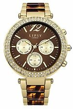 Lipsy Women's Quartz Watch Brown Dial Analogue Display and Two Tone Strap LP467