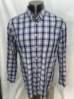 Johnnie-O Men's Purple Plaid Check Button Front long sleeve shirt XL