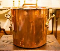 19C Polished Copper Pot Cooking Stockpot Brass Handles Lid Antique Victorian