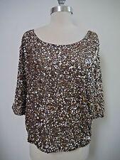 daf06c5ef5d42 NEW VINCE  295 antique gold sequin blouse top size M NWT