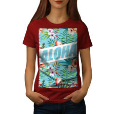 Wellcoda Aloha Holiday Womens T-shirt, Flamingo Casual Design Printed Tee