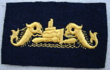 Original WW2 US Navy Officers SUBMARINE Dolphins Gold on Blue Cloth