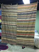 Antique 1800s Linsey Woolsey Loomed Textile Wool Blanket Appr 64 X 76 Primitive