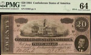 1864 $20 DOLLAR CONFEDERATE STATES CURRENCY CIVIL WAR NOTE MONEY T67 PF-8 PMG 64