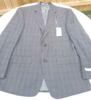 Michael Kors Mens Slim Fit Suit Jacket Blazer Dark Taupe Windowpane 39 Reg