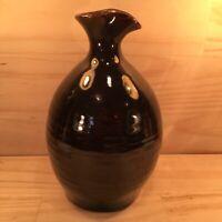 "POTTERY ""Chocolate Brown"" Vintage Carafe Pitcher Jug Decorative Bottle Ornament"