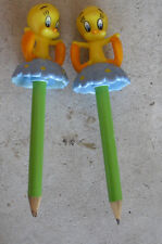 Lot of 2 1990s Plastic Tweety Bird Pencil Toppers