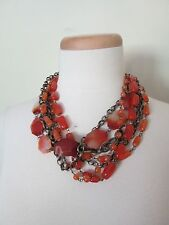 """GOLD TONE RED WHITE BEADS MULTI STANDS Agate Handmade Round 22""""Necklace Beauty"""