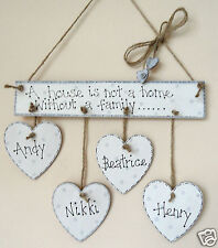 family personalised wooden home wall hanging names of family on hearts