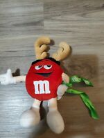 Mars M&M's Plush Red M Reindeer Antlers- Christmas Holiday Ornament 2001