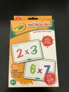 Crayola Multiplication learning flash cards double sided used numbers 0-12 times