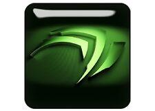 "nVidia 3D (Design 1) 1""x1"" Chrome Domed Case Badge / Sticker Logo"