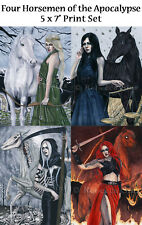 Four Horsemen Apocalypse Art SMALL PRINT SET Pestilence Famine Death War Women