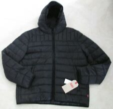 NEW Levi's Lightweight Quilted Hooded Puffer Jacket MENS XL Black $180