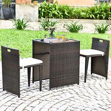 3 PCS Cushioned Wicker Patio Furniture Set Seat Sofa Outdoor Garden Lawn Brown