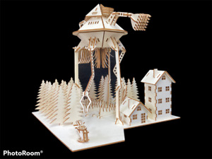 War Of The Worlds Tripod Scene by HG Wells Wooden Laser Cut Model/Puzzle Kit