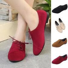 Women Girls Flat Heel Lace Up Loafers Style Oxfords Toe Soft Faux Suede Shoes AU