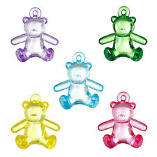 5 x LARGE ACRYLIC TEDDY BEAR CHARMS - 29 x 26mm  - **FREE** SAME DAY POSTAGE
