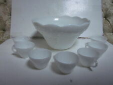VINTAGE WHITE PRESSED MILK GLASS LARGE PUNCH BOWL & 7 CUPS GRAPES ON VINE DESIGN