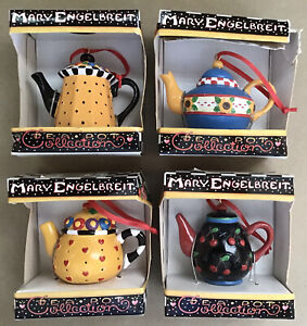 Vintage Lot of 4 MARY ENGELBREIT Teapot Collection Ornaments ~ NEW IN BOX ~ RARE