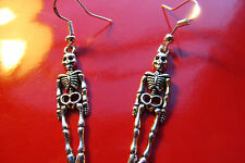 Day of the Dead, Muertos Silvered Skeleton, Sterling Silver French Hook Earrings