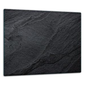 Herdabdeckplatten Ceranfeldabdeckung Spritzschutz Glas 60x52cm Marmor, Schwarz