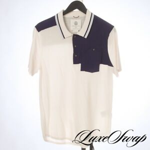 #1 MENSWEAR Alps & Meters Vanilla Knit Navy Microfiber Patch MODERN Polo Shirt L