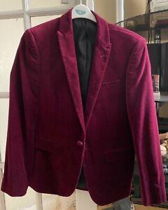 ASOS Men's Burgundy Maroon Velvet Jacket Blazer RRP £60
