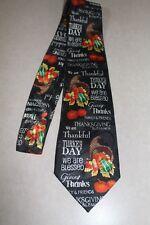Happy Thankful Thanksgiving Turkeys Mens Necktie Holiday Black Neck Tie! #4