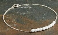 Dainty Silver Pearl Bracelet! Perfect Wedding Bracelet! Uk Seller! Fast Disostch