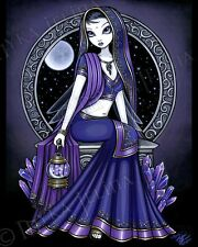 Fairy Art Purple Moon Celestial Sari Hindi Kami Ltd Ed Signed CANVAS Embellished