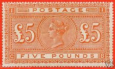 "SG. 137. J128a. "" CB "". £5.00 Orange. A fine UNMOUNTED MINT example."