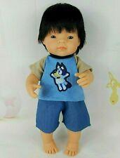 DOLLS CLOTHES FOR 38cm Miniland Boy Doll~ BLUE DOG TOP~DENIM SHORTS
