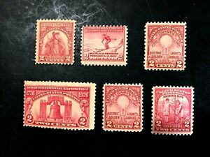 6 UNITED STATES TWO CENTS POSTAGE STAMPS NOT CANCELLED / GOOD GLUE NH 1920-30s