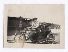 PHOTO ANCIENNE Side Car ancien Moto Motard Passager Vers 1930 Casquette
