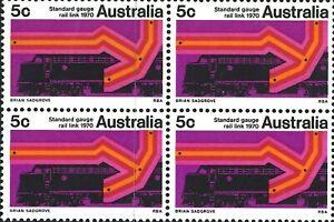 Australian MNH 1970 Stamps Block 4x 5c Sydney Melbourne Standard Gauge Rail Link