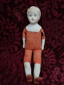 """Vintage/Antique Japanese Parian Head Boy Dollhouse Doll W/ Cloth Body 7"""" Cute"""