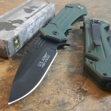 OFFICIAL US ARMY Linerlock A/O MILITARY TACTICAL GREEN Rescue Pocket Knife NEW